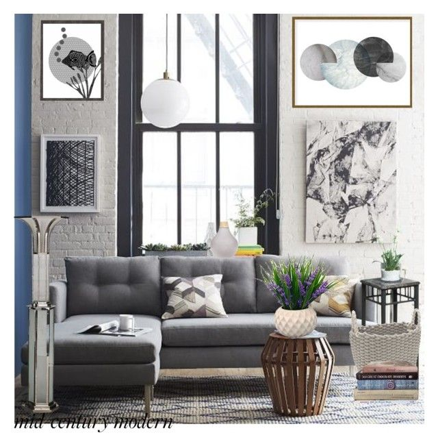 """""""Clean Spaces: Mid-Century Modern"""" by ann-kelley14 ❤ liked on Polyvore featuring interior, interiors, interior design, home, home decor, interior decorating, West Elm, Art Addiction, Home Essentials and modern"""