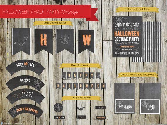 Chalk Halloween Party PackageOrange by StealMyHeartDesign on Etsy, $25.00