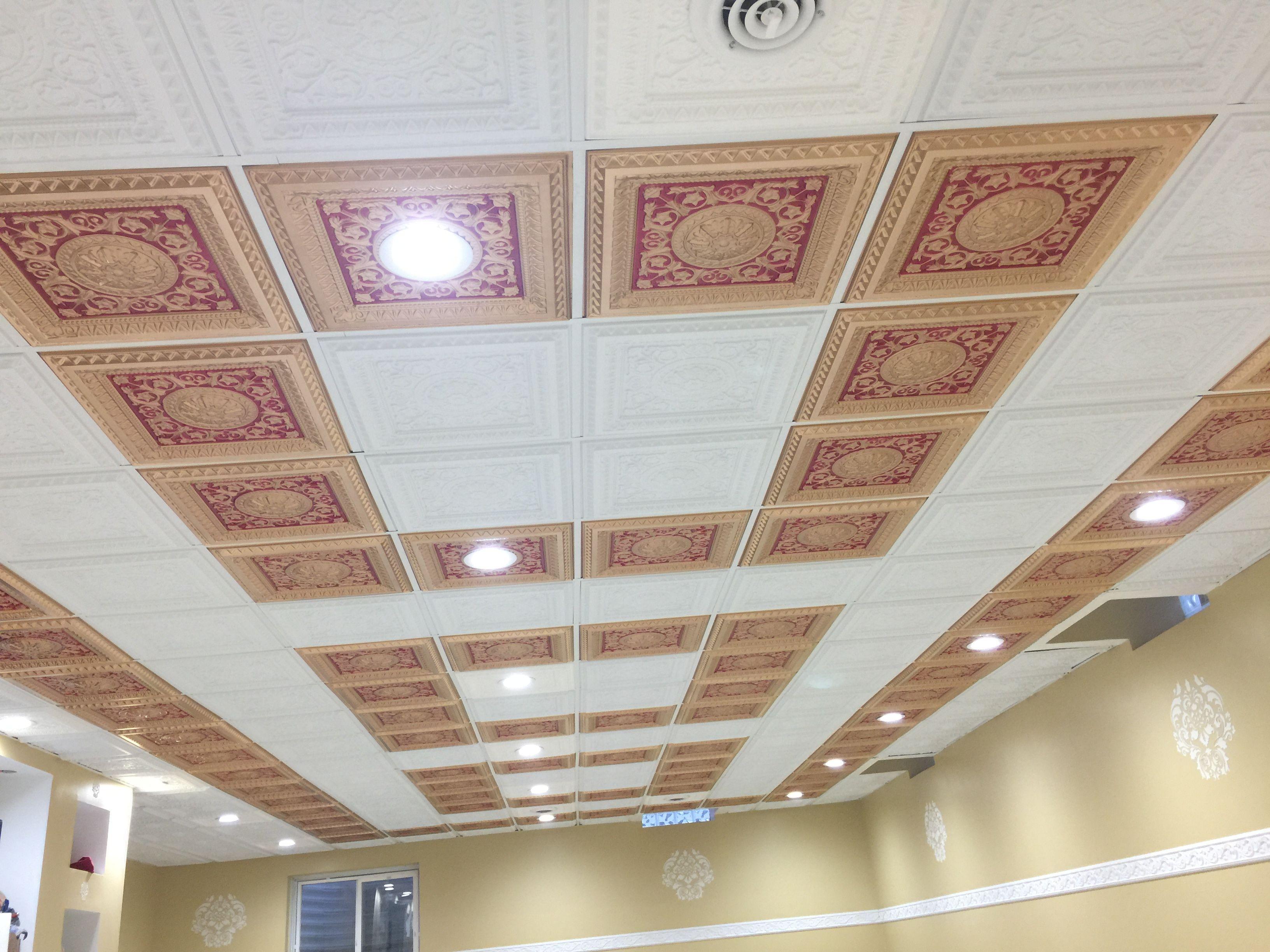 D215 Pvc Ceiling Tile 24x24 Drop In