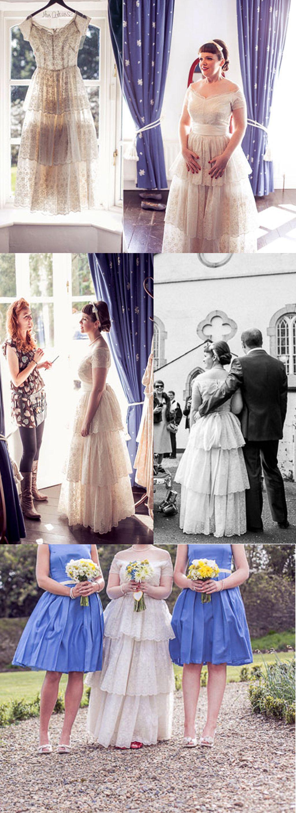 Vintage tiered lace short sleeve off shoulder long aline wedding