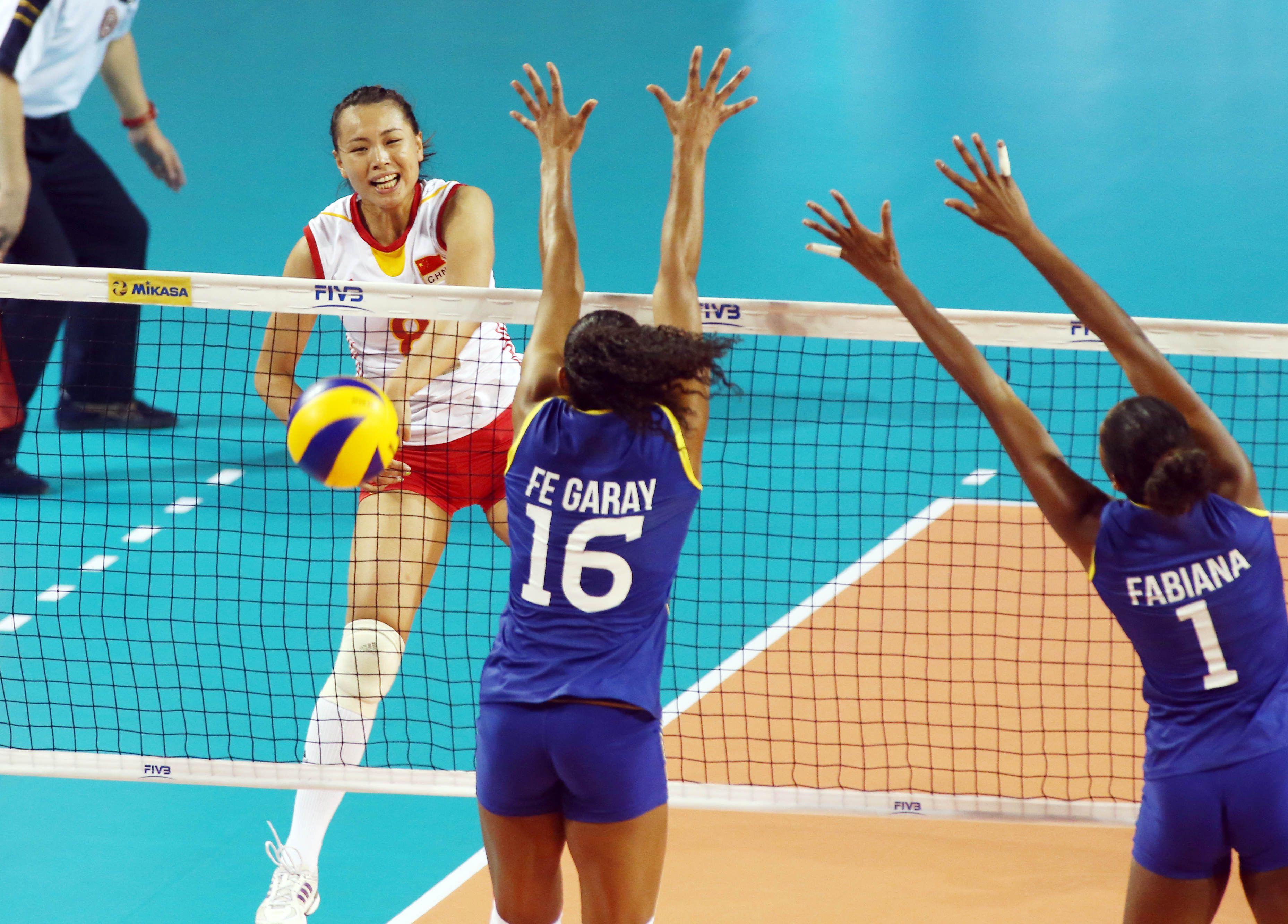 China S Zeng Chunlei Spikes Against Brazil