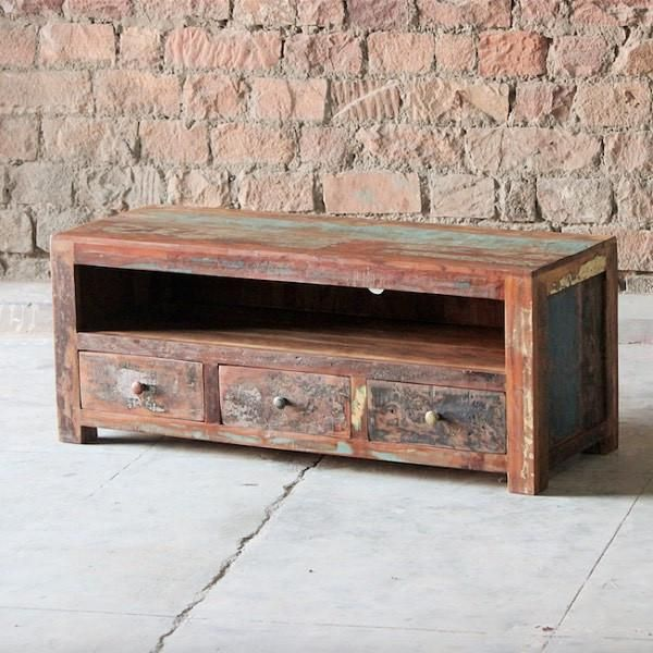 Mary Rose 2 Door Grand Reclaimed Wood TV Cabinet Drawers Living