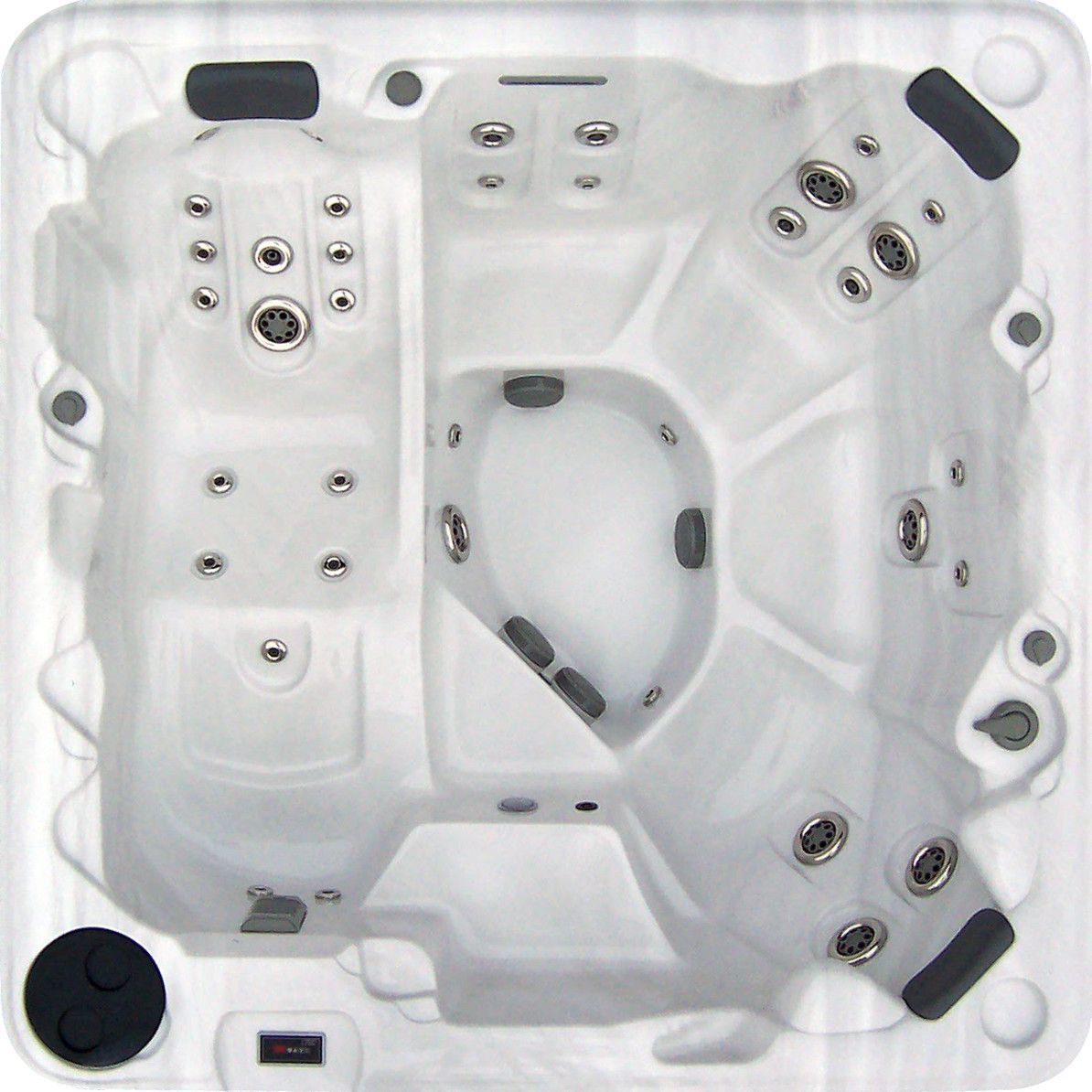 Bayview Spas Summerville Silvertone Acrylic/Stainless Steel 7 Foot 88 Jet  Hot Tub With Lounger