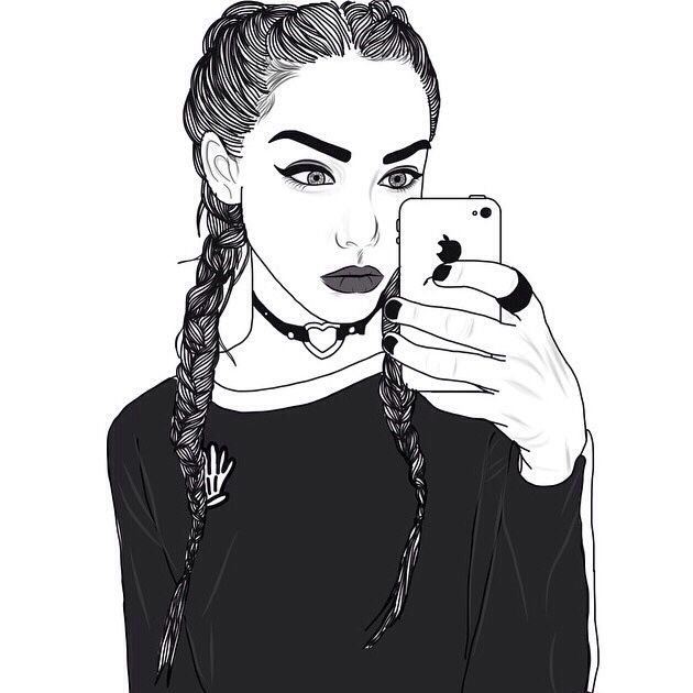 Braids Iphone Blackandwhite Black White In 2019 Tumblr Outline