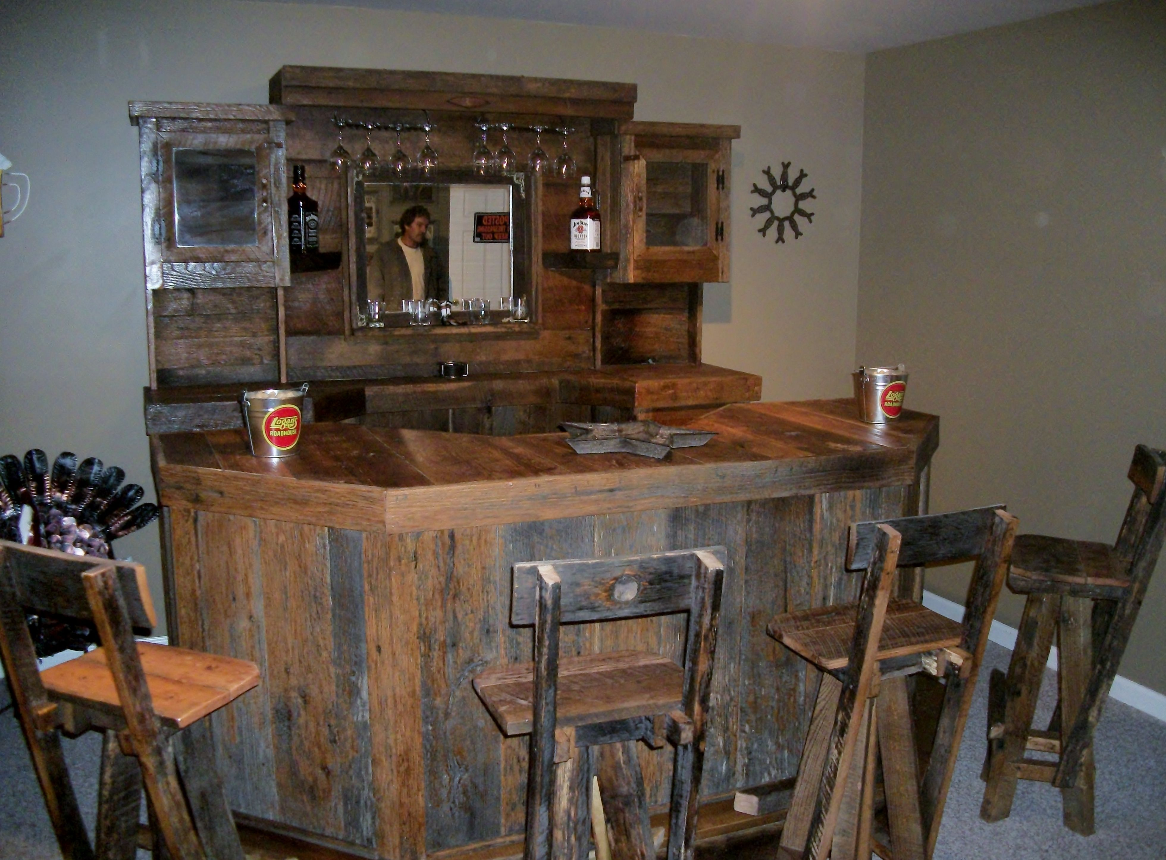 Uncategorized Old Wooden Bar this barn wood bar and the stools were some of first items that i built with old added a couple rakes as win