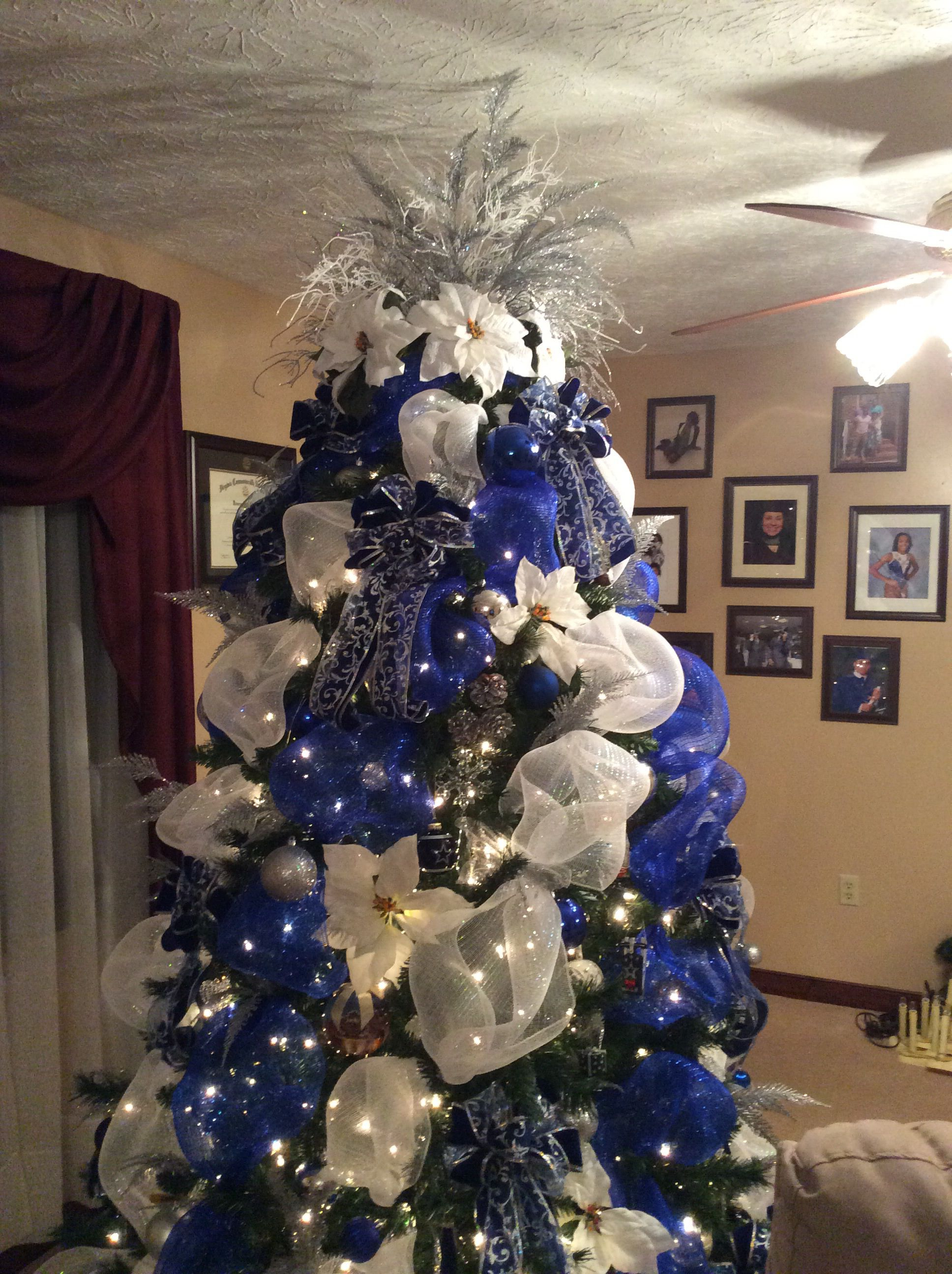 Blue White And Silver Deco Mesh Christmas Tree I Am A Dallas Cowboys Fan And Always W Silver Christmas Decorations Blue Christmas Tree Christmas Tree Themes