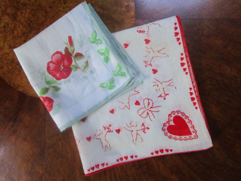 2- Cupid Valentine Heart Handkerchief Hankie Hanky Love Red Flowers by FabulousVintageHats on Etsy