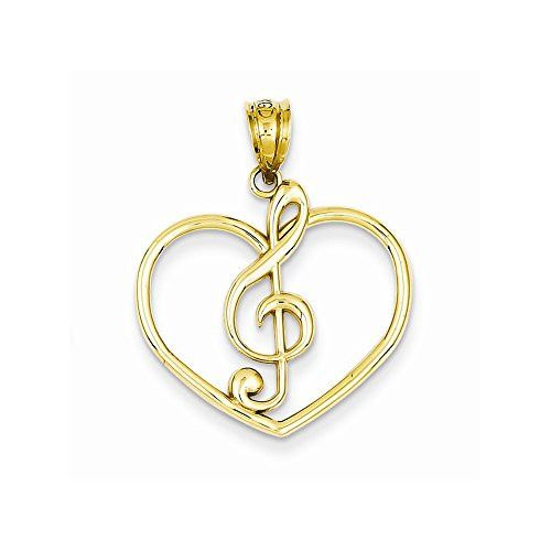 14k Treble Clef In Heart Charm, Best Quality Free Gift Box Satisfaction Guaranteed