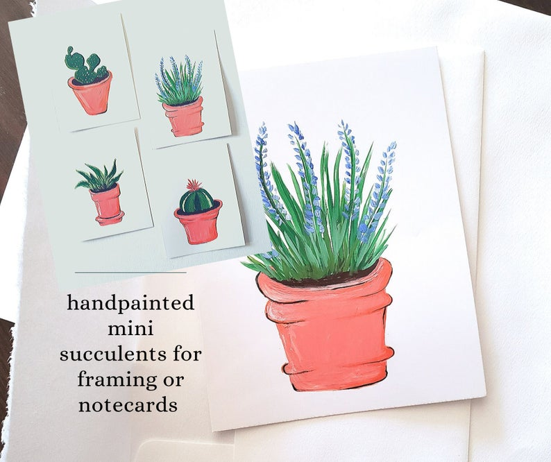 Photo of Note Cards Hand Painted Succulents, Cactus NoteCards, Thank You Cards, Mini Paintings for Framing, Gift for Garden Lover, Mini Succulents