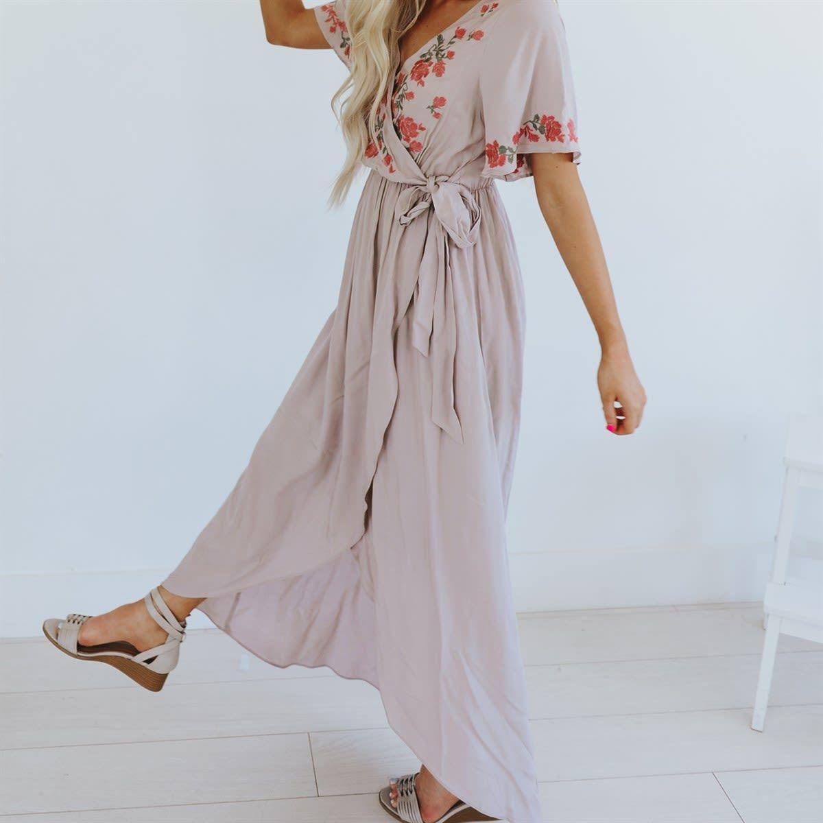 Embroidered Floral Faux Wrap Dress Nursing Friendly Wrap Dress Dresses Faux Wrap Dress [ 1200 x 1200 Pixel ]