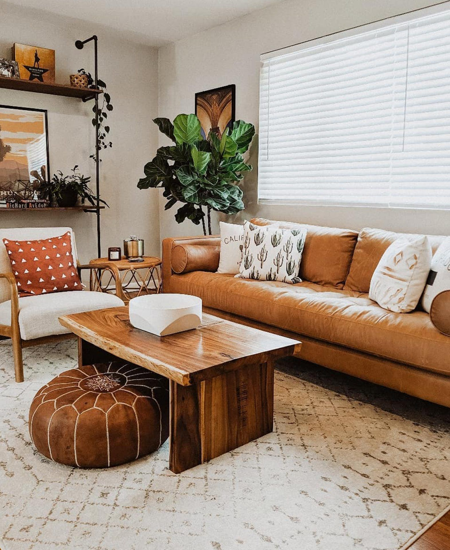 Lizzy Powers Design Article Leather Sofa In Boho Living Room Living Room Leather Brown Couch Living Room Leather Sofa Living Room