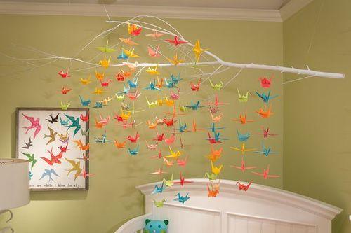 Decoración Con Grullas De Origami Deco Baño Manualidades