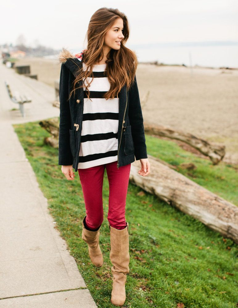 Red pants with striped shirt and sailor jacket. Lovely.