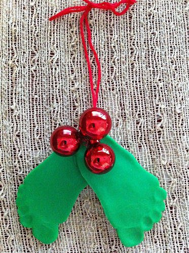 """""""Mistletoes""""--originally done with clay, but could easily be done by just having kids trace their feet on construction paper; could use the stem balls or just red construction paper for the berries."""