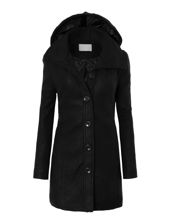 a2070984a1d LE3NO Womens Plus Size Long Fleece Pea Coat Jacket with Detachable Hoodie