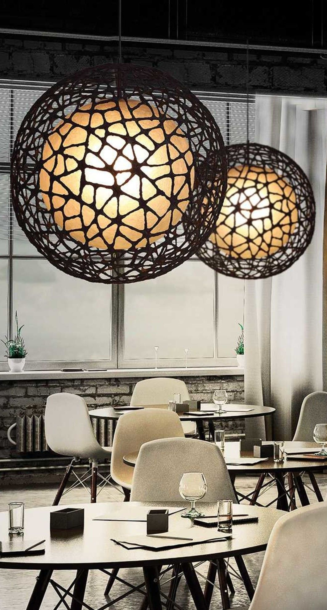 The C U Me Collection Round Hanging Lamp Features Charming Beauty Of Woven Wire