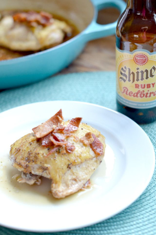 Baked chicken thighs with beer and bacon (a recipe from JessicaNWood.com). A great family meal everyone will love. Clickthrough for the full recipe and more family-friendly dinner ideas!