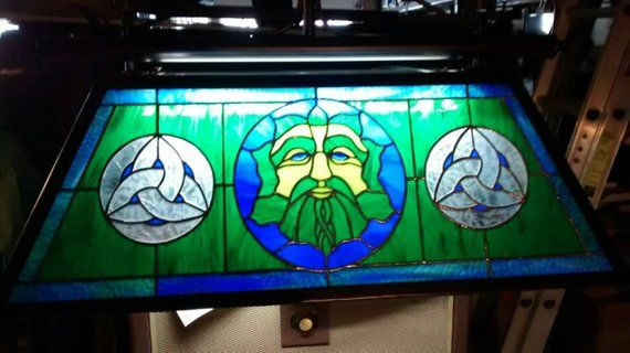 Stained Glass Green Man Billiards Table Light Man Cave Handmade