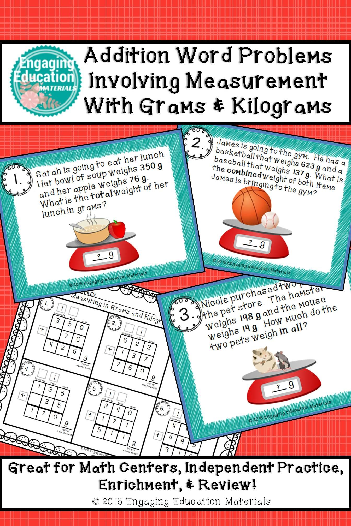 Addition Word Problems Involving Measurement With Grams & Kilograms ...