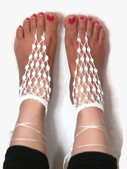 White Crochet Barefoot Sandals Crocheted Anklet Sexy by Nakkashe