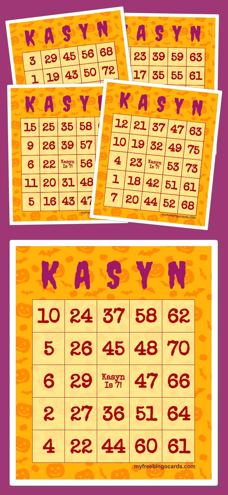 K A S Y N BINGO Bingo cards, Free printable bingo cards