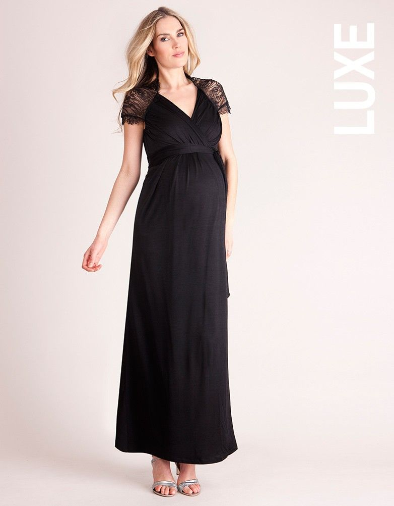 d4949aac7e38e Lace Detail Wrap Maternity Maxi Dress | Maternity Black Tie for AOD ...