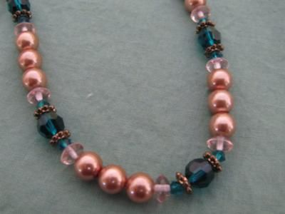 this beginner jewelry making project glass pearl and crystal bead necklace and earring - Necklace Design Ideas