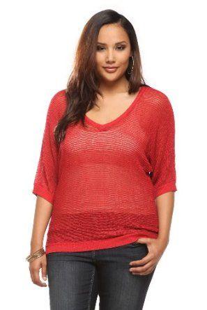 ca7643cc26 Red Shimmer Dolman V-Neck Pullover Torrid.  44.50 Affordable Plus Size  Clothing