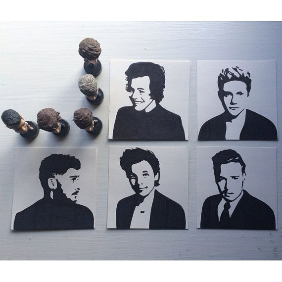 SET OF 5 One Direction pop art harry styles louis by ...