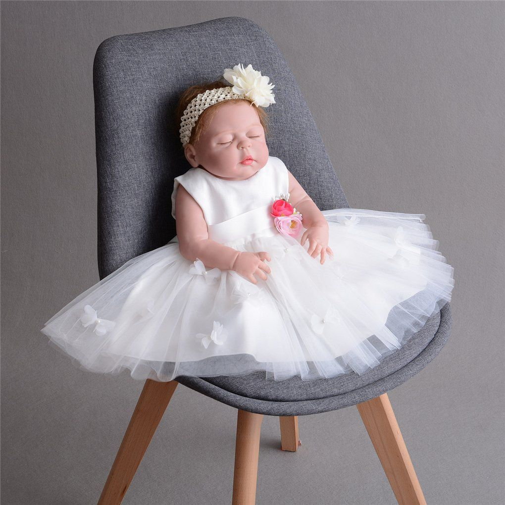 Romping House Newborn Girls Flowers Butterfly Layered Tulle Baptism Dress Christening Gown