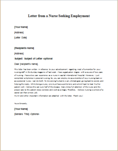 Letter From A Nurse Seeking Employment Download At Http