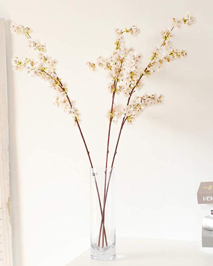Amazon Com Wenxin 39 Inch Cherry Blossom Flowers Artificial 3pcs Branches Flowers Stems Silk Ta In 2020 Fake Flower Arrangements Home Wedding Decorations Fake Flowers