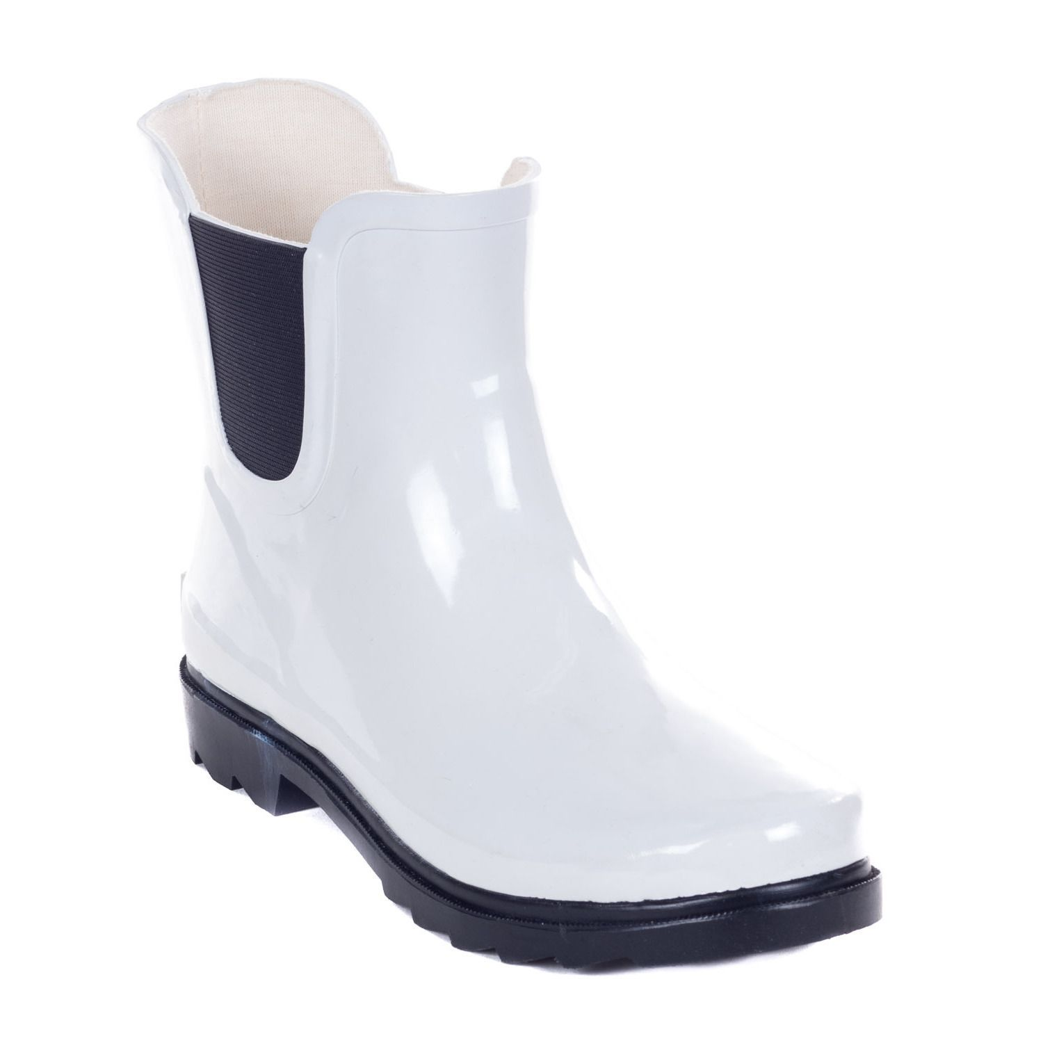 Forever Young Women's White Rubber 11-inch Ankle Rain Boots ...
