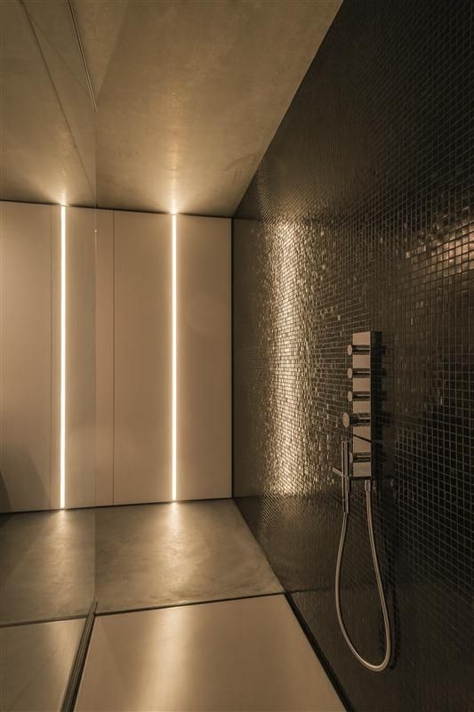 1u Recessed Profile System By Tal Used In Modern Bathroom Shower Lighting