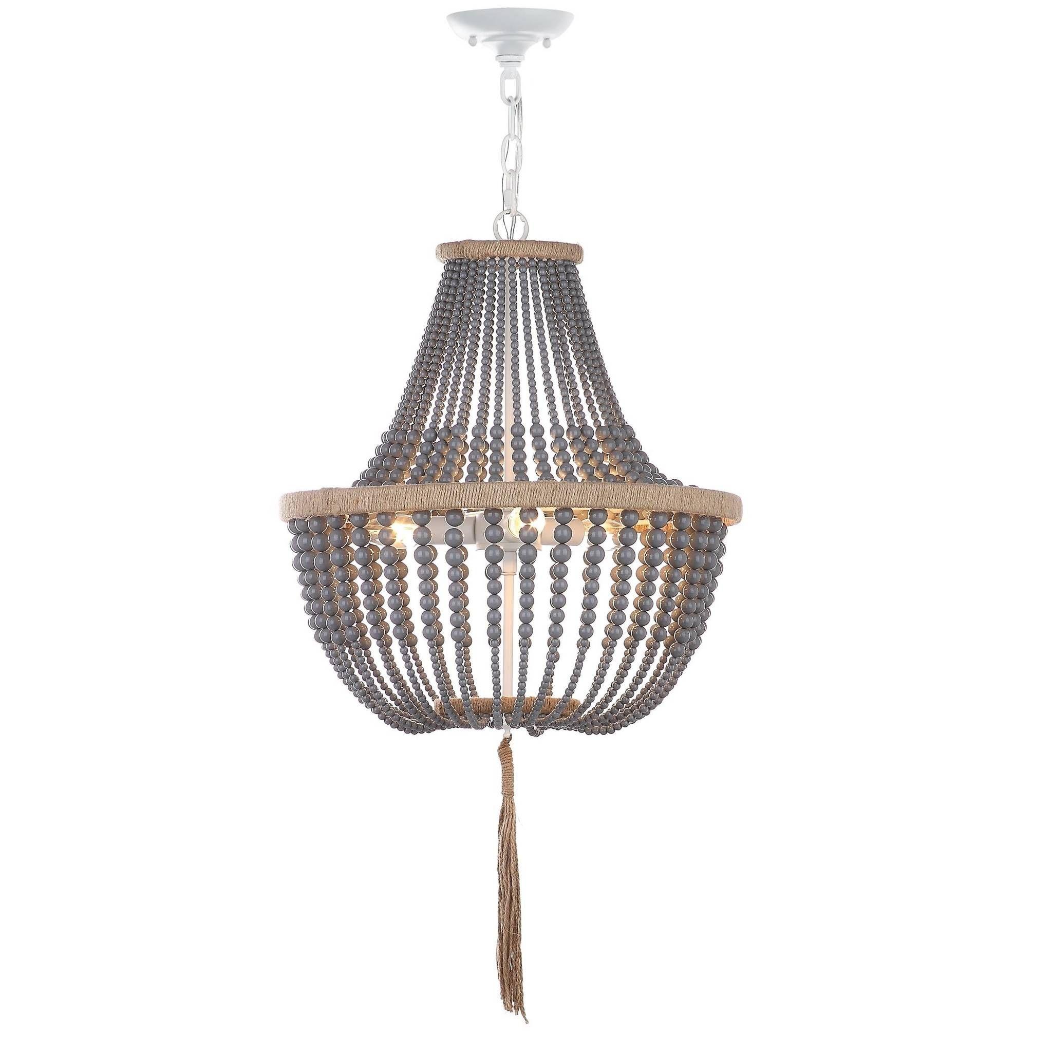 Adjustable 3 Light Bohemian Beaded Pendant Lamp