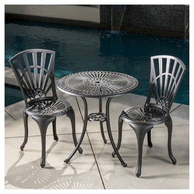 Andorra 3 Piece Cast Aluminum Patio Bistro Set Black