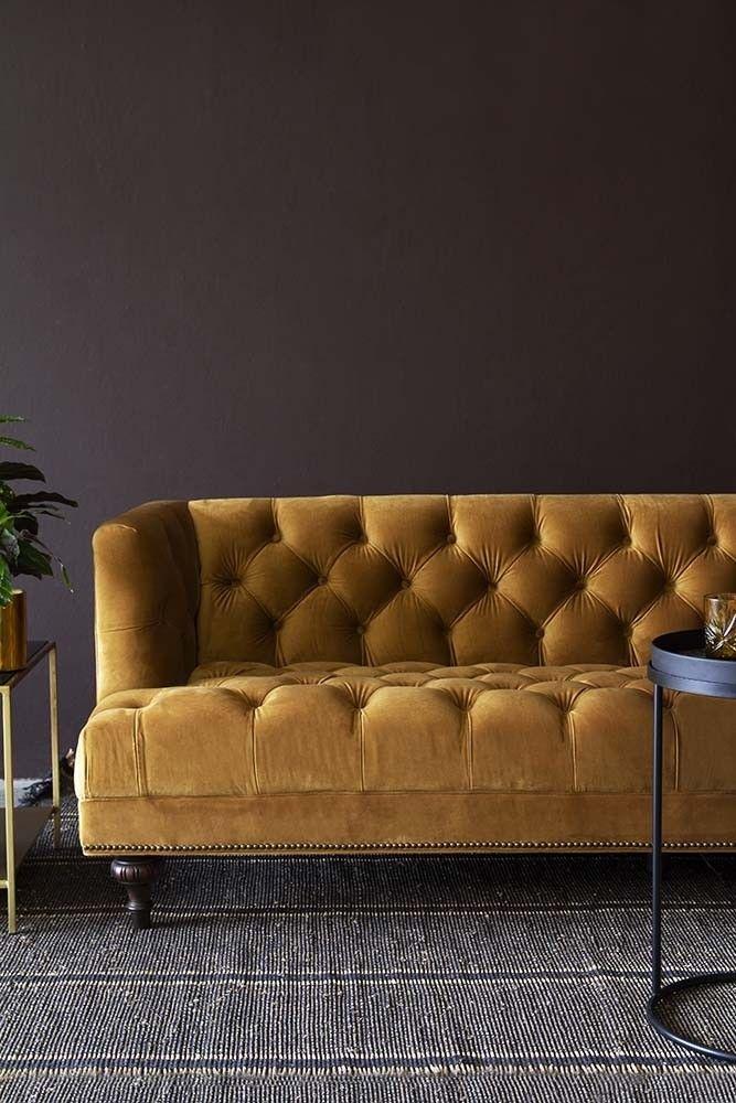 Ochre Gold Velvet Chesterfield Sofa From Rockett St George Velvet Sofa Living Room Gold Sofa Velvet Chesterfield Sofa