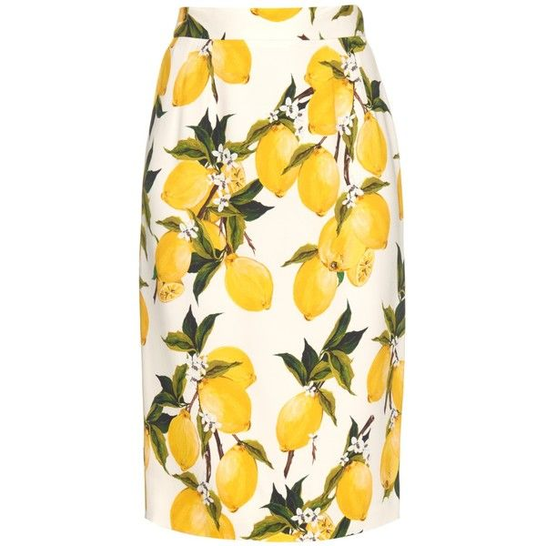 Dolce & Gabbana Lemon-print crepe pencil skirt ($454) ❤ liked on Polyvore featuring skirts, slit skirt, lemon print skirt, pencil skirt, white skirt and crepe skirt