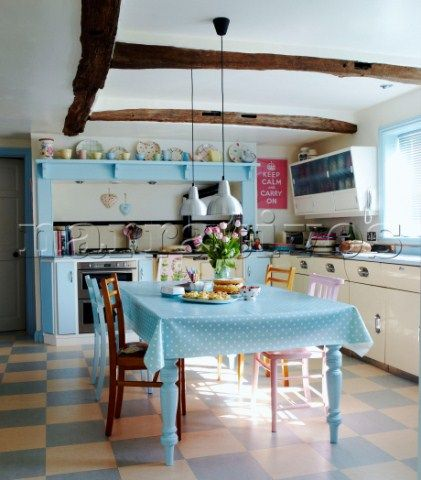 one of my favorite kitchens. pastels. vintage/retro/cottage style