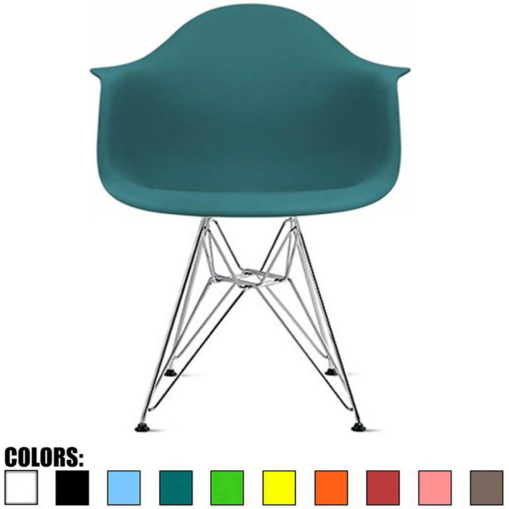 2xhome teal plastic armchair with eiffel legs dinning