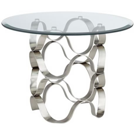 Waves Brushed Silver And Glass End Table W8027 Lamps Plus Glass End Tables Wave Glass End Tables