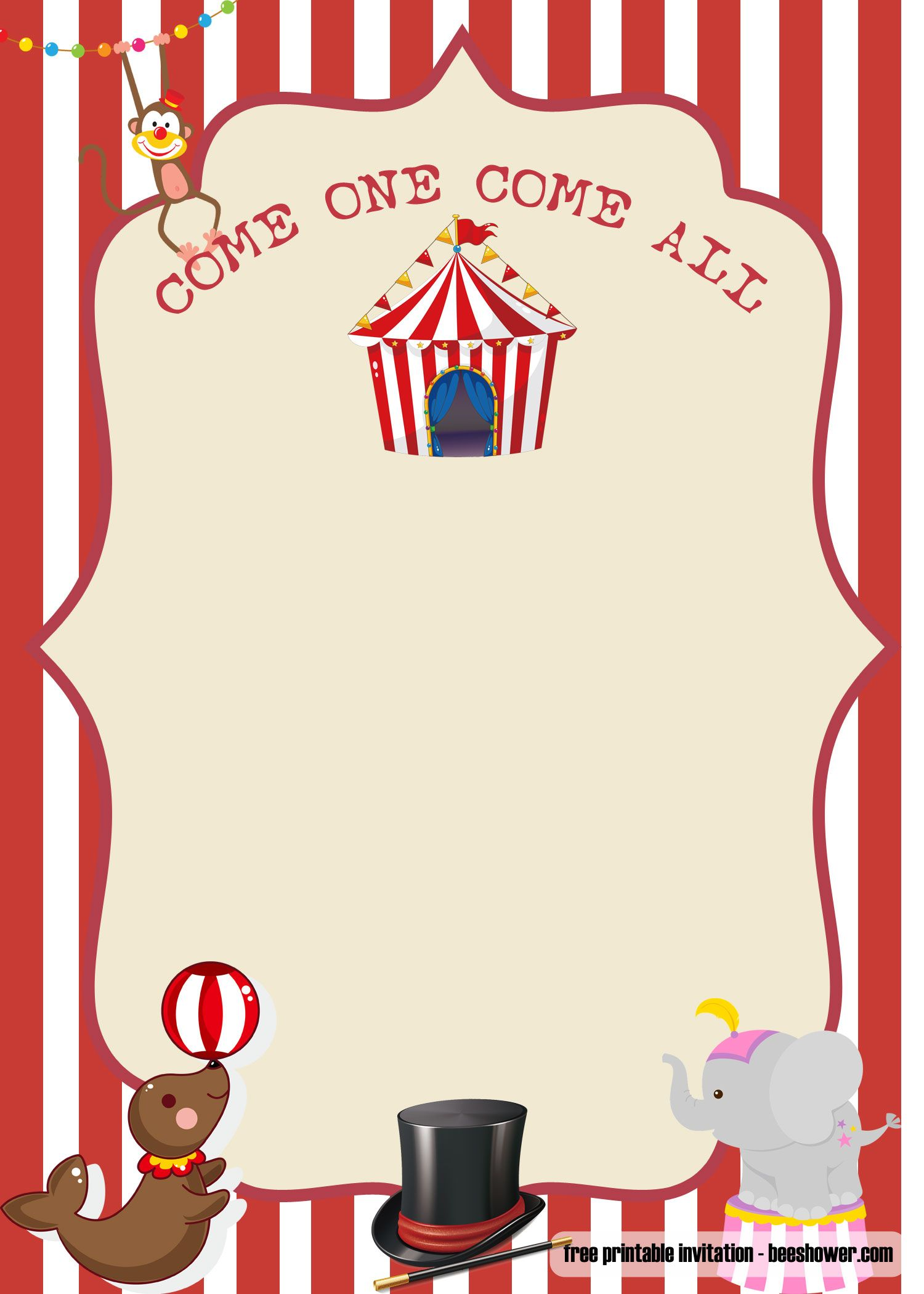 Free Printable Circus Baby Shower Invitations In