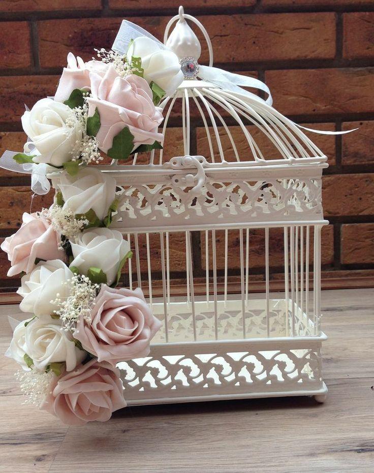 Cage oiseau mariage ivoire rose idee deco table centre for Cage a oiseaux deco