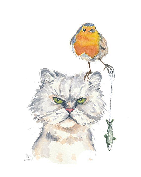 Cat Robin Watercolor Painting, Original Watercolour, Daredevil, Grumpy Cat, Cat Bird Illustration, 8x10 painting