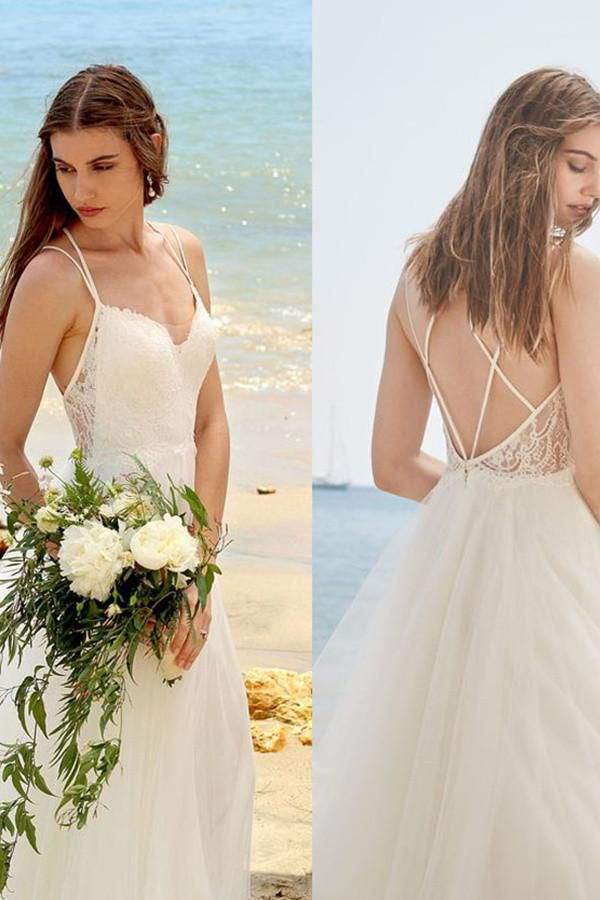 Simple Wedding Dresses Spaghetti Straps Wedding Dress Ivory Wedding Gown A Line B Backless Lace Wedding Dress Beach Wedding Dress Spaghetti Strap Wedding Dress
