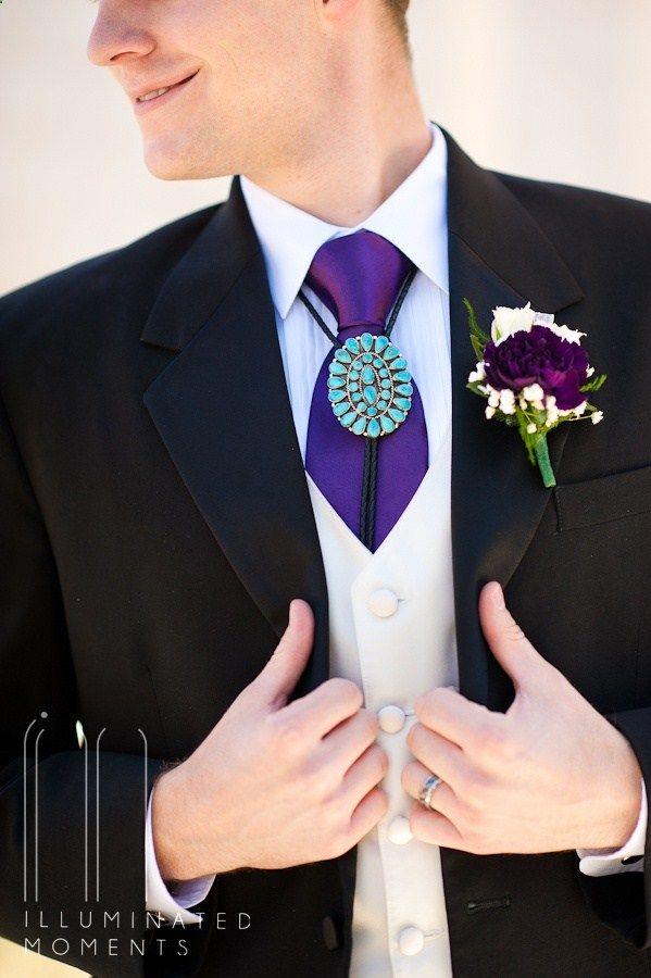 Bolo Tie Native American Details Purple And Turquoise Wedding Native American Wedding Purple Wedding Turquoise Wedding