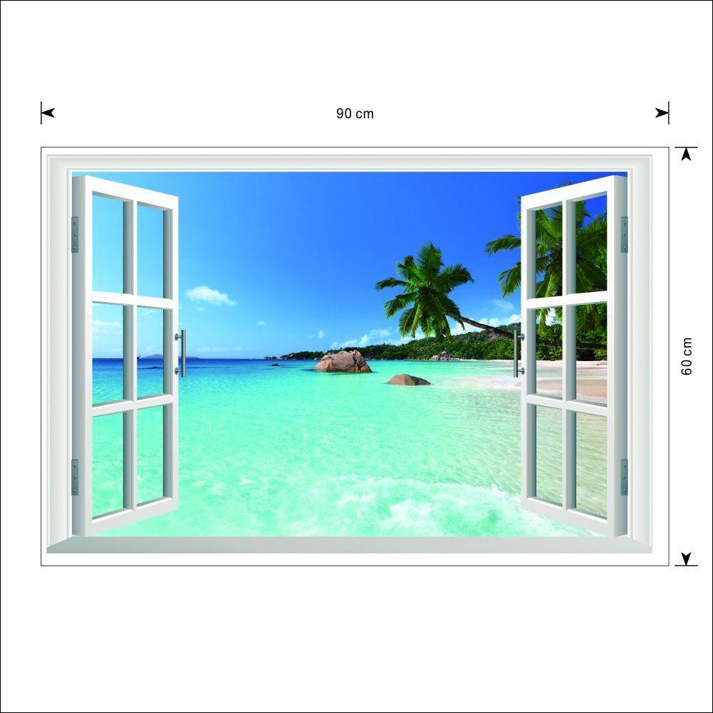 Zooarts adhesivo mural de vinilo dise o 3d de ventana con for Vinilos murales paisajes