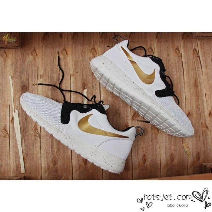 Nike Roshe Run Mesh White Black Golden Shoes Mens Womens