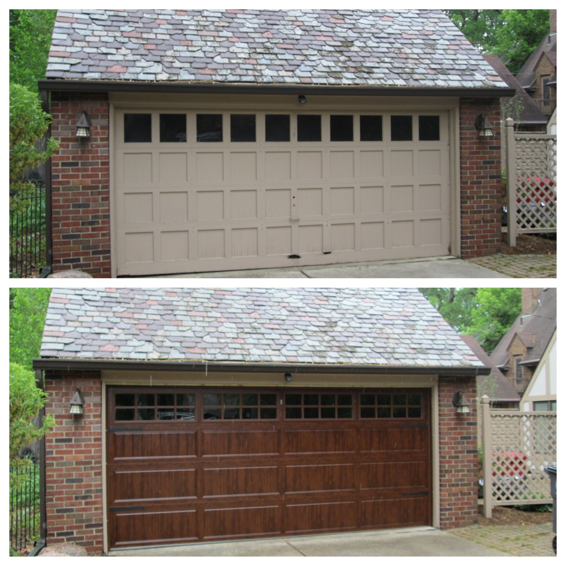 This Homeowner No Longer Wanted The Hassel Of Their Wood Door So They Chose To Replace It With A Steel Door Garage Doors Wooden Garage Doors Wood Garage Doors
