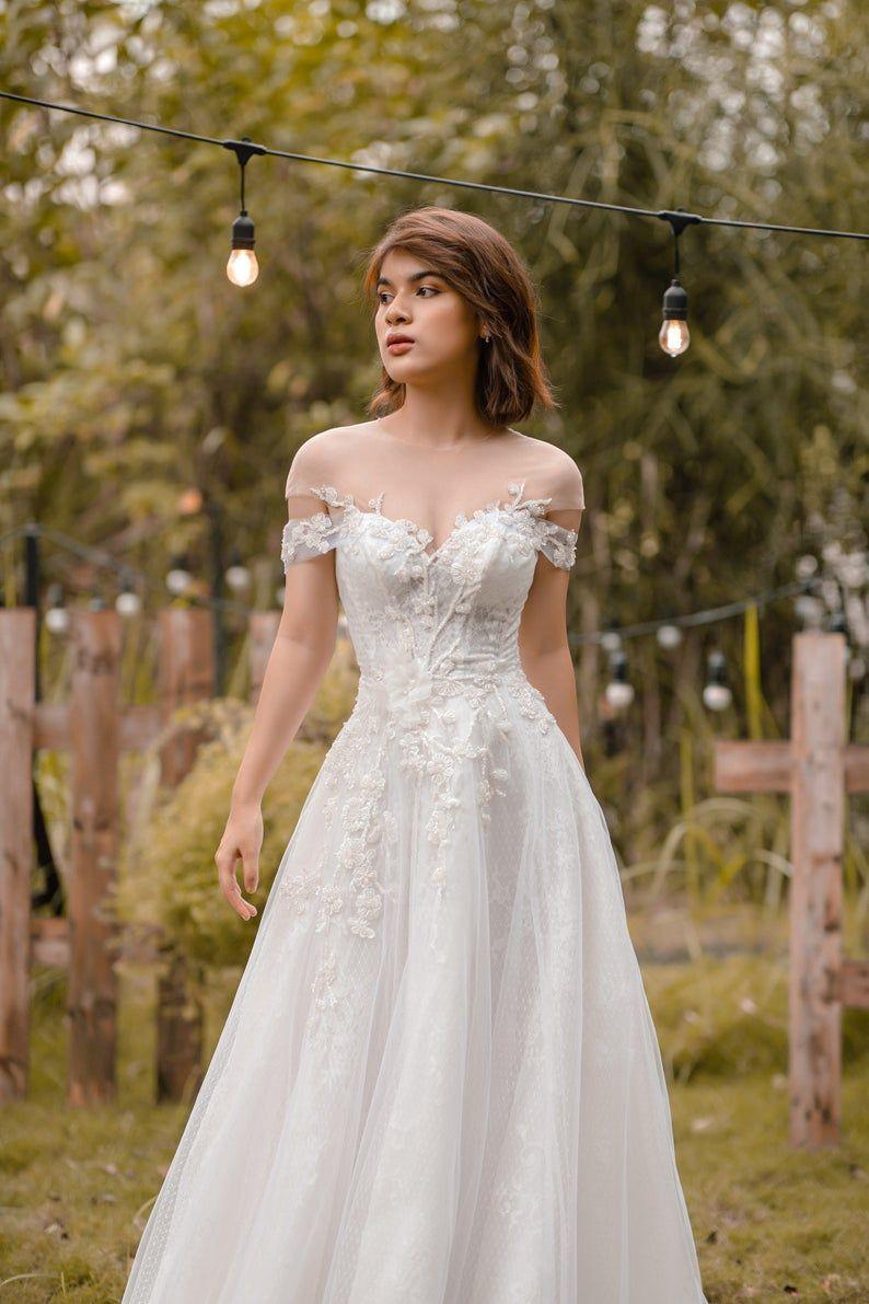 Iren Rustic A Line Wedding Dress With Off Shoulder Sleeve Etsy Summer Wedding Dress Wedding Dresses A Line Wedding Dress [ 1191 x 794 Pixel ]